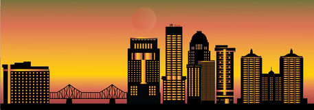 Louisville detail skyline with bridge Royalty Free Stock Photos