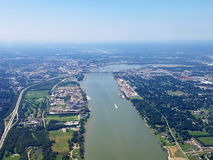 Louisville, Kentucky areal view. View from airplane on Ohio river and approach to Louisville. You can see landscapes of Kentucky and Indiana stock images