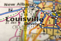 Louisville, Kentucky on map. Closeup of Louisville, Kentucky on a road map of the United States royalty free stock photography