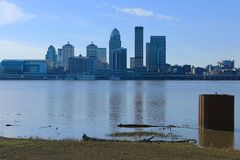 Louisville, Kentucky skyline across the Ohio River stock photos