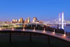 Louisville, Kentucky skyline at dawn. The Louisville, Kentucky skyline at dawn royalty free stock photography