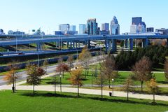 Louisville, Kentucky skyline with expressway in front. The Louisville, Kentucky skyline with expressway in front stock image