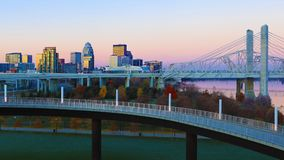 Louisville, Kentucky skyline at sunrise. The Louisville, Kentucky skyline at sunrise royalty free stock photography