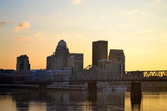Louisville, Kentucky at Sunset. The central business district of downtown Louisville, Kentucky USA royalty free stock images