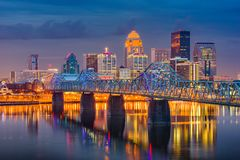 Louisville, Kentucky, USA Skyline. Louisville, Kentucky, USA downtown skyline on the Ohio Riiver at dusk royalty free stock photo