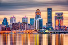 Louisville, Kentucky, USA Skyline. Louisville, Kentucky, USA downtown skyline on the Ohio River at dusk stock images