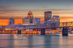 Louisville Kentucky, USA horisont arkivfoto