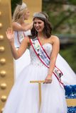 The Pegasus Parade 2018. Louisville, Kentucky, USA - May 03, 2018: The Pegasus Parade, 2018 Kentucky Derby Princess riding on a float, down W Broadway st stock photography