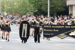 The Pegasus Parade 2018. Louisville, Kentucky, USA - May 03, 2018: The Pegasus Parade, Members of the North Allegheny High School, Marching Band from Pittsburgh stock images