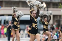 The Pegasus Parade 2018. Louisville, Kentucky, USA - May 03, 2018: The Pegasus Parade, Members of the North Allegheny High School, Marching Band from Pittsburgh royalty free stock photography