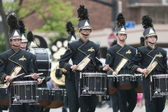 The Pegasus Parade 2018. Louisville, Kentucky, USA - May 03, 2018: The Pegasus Parade, Members of the North Allegheny High School, Marching Band from Pittsburgh royalty free stock photo