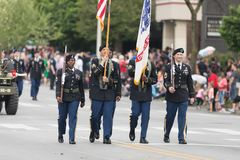 The Pegasus Parade 2018. Louisville, Kentucky, USA - May 03, 2018: The Pegasus Parade, Members of the United States Army marching with rifles, scorting the royalty free stock photography
