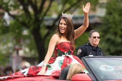 The Pegasus Parade 2018. Louisville, Kentucky, USA - May 03, 2018: The Pegasus Parade, Miss America riding on a Corvette, down W Broadway st stock image