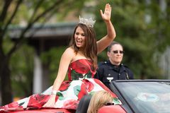 The Pegasus Parade 2018. Louisville, Kentucky, USA - May 03, 2018: The Pegasus Parade, Miss America riding on a Corvette, down W Broadway st stock photography
