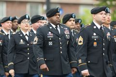 The Pegasus Parade 2018. Louisville, Kentucky, USA - May 03, 2018: The Pegasus Parade, United States Army troop, marching down W Broadway during the parade stock photography