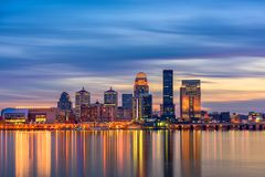 Louisville, Kentucky, USA. Skyline on the Ohio River royalty free stock photography