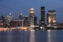Louisville Kentucky waterfront skyline at dusk stock image