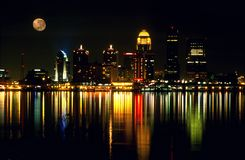 Louisville KY night skyline. Night skyline of Louisville Kentucky with the full moon. Horizontal orientation royalty free stock image