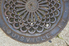Louisville - manhole cover. In the center of the city stock photography