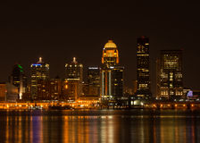 Louisville at Night. Photograph of the beautiful downtown buildings of Louisville, Kentucky with colorful reflections from across the Ohio River stock photos