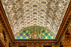 The Louisville Palace theater ceiling. Curved, vaulted ceiling with 139 sculptures of the faces of historical figures at the Louisville Palace Theater on 4th royalty free stock images
