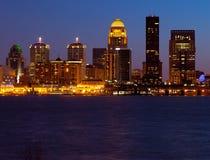 Louisville Skyline. Louisville, Kentucky skyline and Ohio River at dusk stock photography