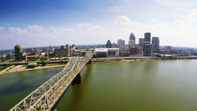 Louisville skyline. Aerial view of Louisville skyline and John F. Kennedy Memorial Bridge across the Ohio River