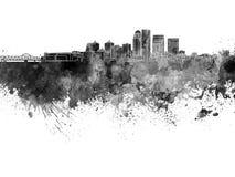 Louisville skyline in black watercolor Stock Photography