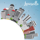 Louisville Skyline with Gray Buildings, Blue Sky and Copy Space. Stock Images