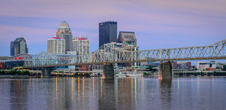 Louisville Skyline. Louisville, Kentucky, USA - July 10, 2016: Louisville, located on the banks of the Ohio River, is home to the Kentucky Derby and the hometown royalty free stock photo