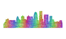 Louisville skyline silhouette - multicolor line art Stock Images