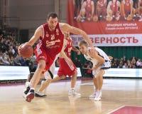 Loukas Mavrokefalidis. SAMARA, RUSSIA - NOVEMBER 25: Loukas Mavrokefalidis of BC Spartak, with ball, is on the attack during a BC Krasnye Krylia game on November Stock Photo