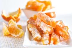 Loukoum alaranjado com amendoim e suco de laranja Fotografia de Stock Royalty Free