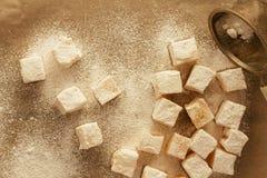 Loukoum com opinião superior do açúcar Imagem de Stock Royalty Free