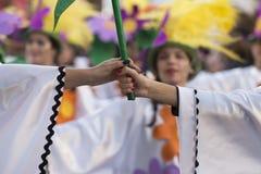 LOULE, ПОРТУГАЛИЯ - ФЕВРАЛЬ 2018: Красочный парад масленицы (Carnaval) Стоковые Изображения RF