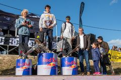 Miguel Santos wins the 1st Stage of DC Skate Challenge by Moche. LOULE, PORTUGAL - APRIL 29, 2018:  Beginner skateboarder Miguel Santos wins the 1st Stage of DC Stock Photos