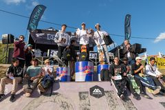 Bruno Senra wins the 1st Stage of DC Skate Challenge by Moche. LOULE, PORTUGAL - APRIL 29, 2018:  Professional skateboarder Bruno Senra wins the 1st Stage of DC Royalty Free Stock Photography