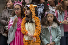LOULE, PORTUGAL - FEB 2017: Colorful Carnival (Carnaval) Parade Stock Images