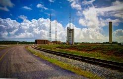 Lounchers binnen het Ruimtecentrum van Guyana, Kourou, Frans-Guyana stock foto's