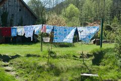 Loundry. Drying on clothes line outside Stock Photography