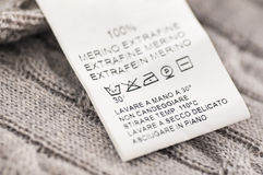 Loundry Symbols on the Wool Clothes. As closeup Royalty Free Stock Image