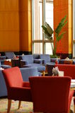 The Lounge. Red sofas and blue sofas at the hotel's lounge Royalty Free Stock Image
