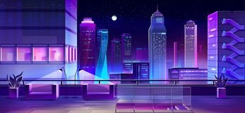 Free Lounge Area On City House Roof Cartoon Vector Royalty Free Stock Image - 146360896