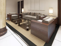 The lounge area in the premises of the Spa hotel. Soft and comfortable chairs with glass tables. 3D render Stock Image