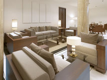 The lounge area in the premises of the Spa hotel. Soft and comfortable chairs with glass tables. 3D render Stock Photos