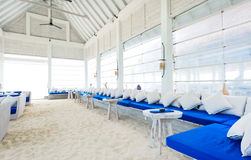Lounge bar on the beach Stock Photos