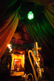 Lounge bar hookah. And curtains Royalty Free Stock Photo