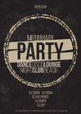 Lounge bar party poster vector background with golden circles.  Stock Photography