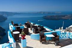 Lounge bar at Santorini island, Greece Stock Photography