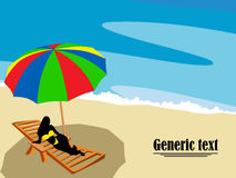 Lounge on the beach. Silhouette of a girl relaxing on the beach side Stock Image